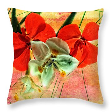 Bougainvillea And Paper White Throw Pillow