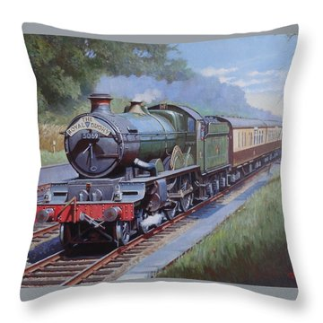 Throw Pillow featuring the painting  Castle Class In Sonning Cutting by Mike  Jeffries