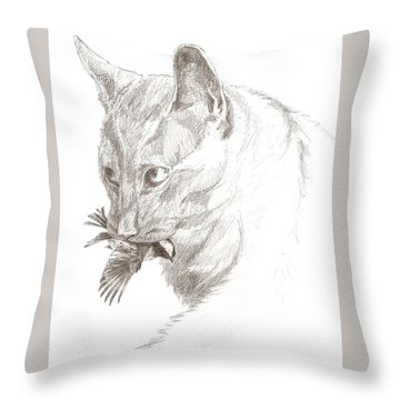 Cat And Chickadee Throw Pillow