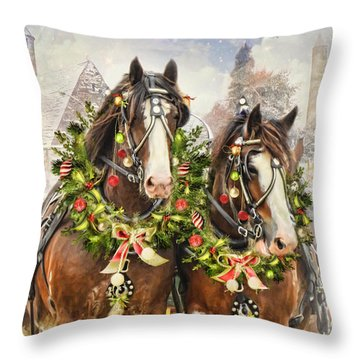 Christmas Clydesdales Throw Pillow