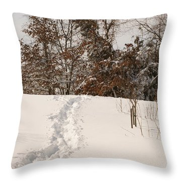 Christmas Snow Trail Throw Pillow