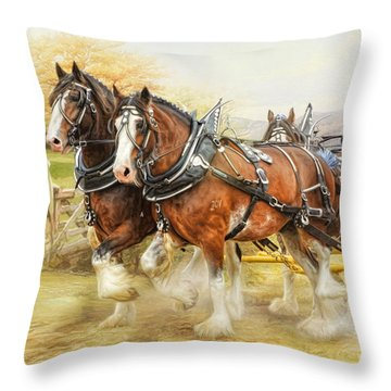 Clydesdales In Harness Throw Pillow