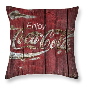 Coca Cola Sign Barn Wood Throw Pillow