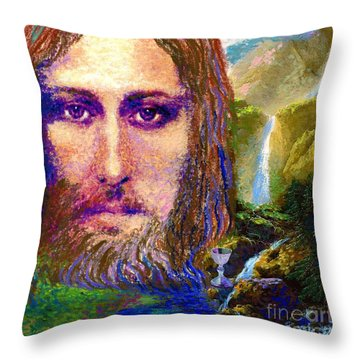 Contemporary Jesus Painting, Chalice Of Life Throw Pillow by Jane Small