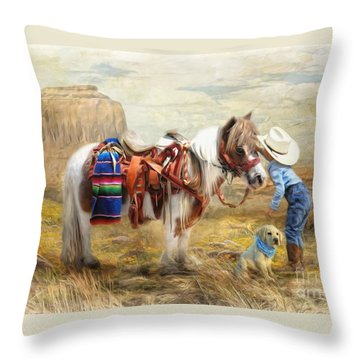 Throw Pillow featuring the digital art  Cowboy Up by Trudi Simmonds