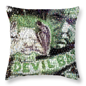 Throw Pillow featuring the mixed media  Devil Bat Movie Poster Horror Mosaic by Paul Van Scott