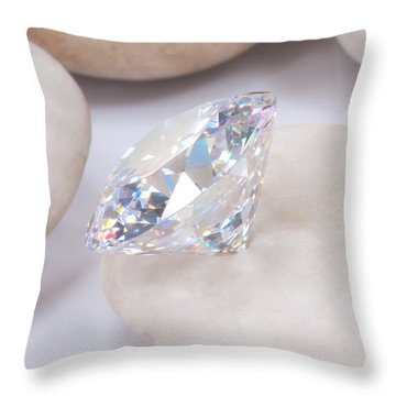 Diamond On White Stone Throw Pillow
