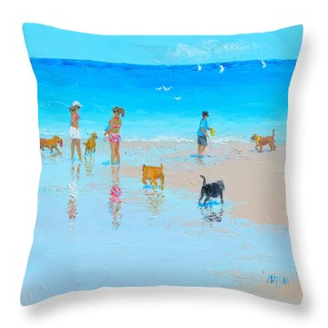 Dog Beach Day Throw Pillow