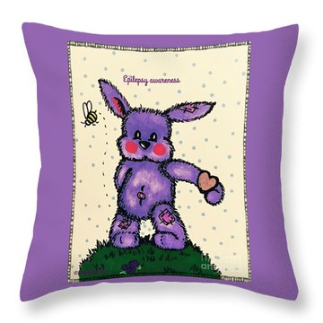 Epilepsy Awareness Bunny Throw Pillow by MaryLee Parker