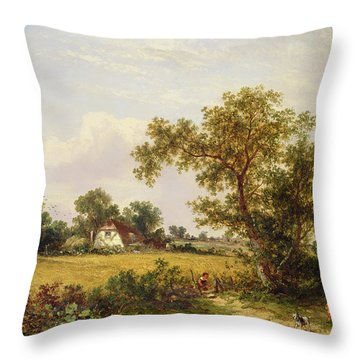 Essex Landscape  Throw Pillow by James Edwin Meadows