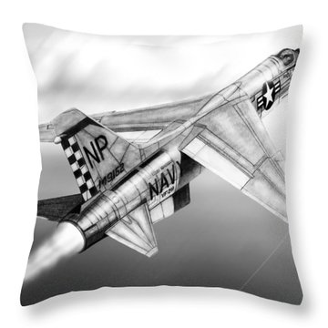F-8e Crusader Drawing Throw Pillow
