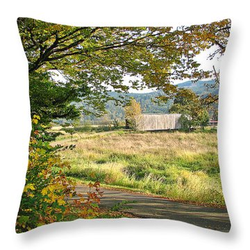 Fall At Grays River Covered Bridge Throw Pillow