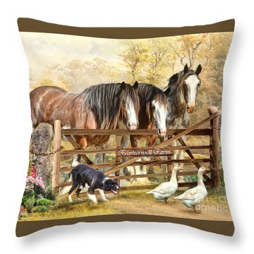 Throw Pillow featuring the digital art  Featherwell Farm by Trudi Simmonds