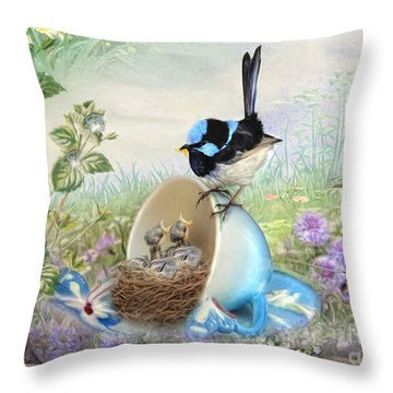 Throw Pillow featuring the digital art  Feed Time by Trudi Simmonds