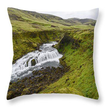 Fimmvorduhals Waterfall Throw Pillow