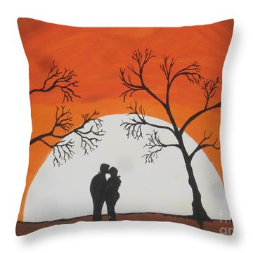 First Kiss Throw Pillow