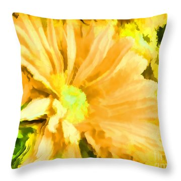 Flower Art Mellow Yellow By Sherriofpalmsprings Throw Pillow by Sherri's Of Palm Springs