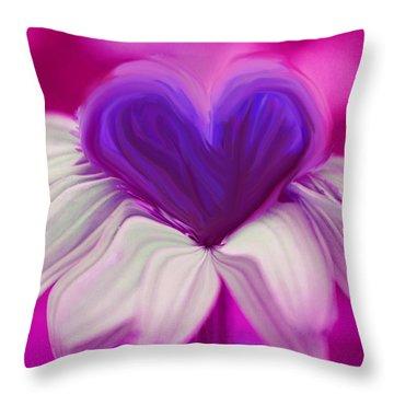Throw Pillow featuring the photograph  Flower Heart by Linda Sannuti