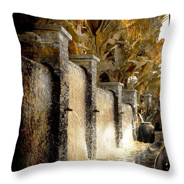Throw Pillow featuring the photograph   Flowing Waterfall  by Athala Carole Bruckner