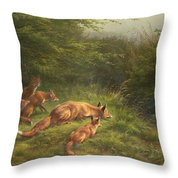 Foxes Waiting For The Prey   Throw Pillow by Carl Friedrich Deiker