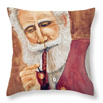 German With Pipe No. 2 Throw Pillow