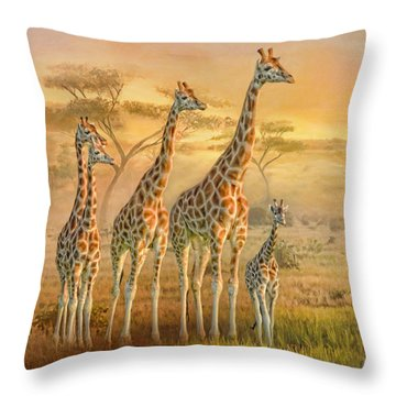 Throw Pillow featuring the digital art  Giraffe Family by Trudi Simmonds