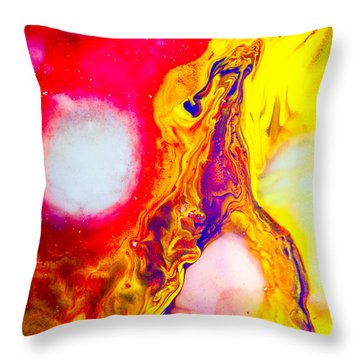 Giraffe In Flames - Abstract Colorful Mixed Media Painting Throw Pillow by Modern Art Prints