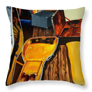 Girl Playing Guitar Throw Pillow