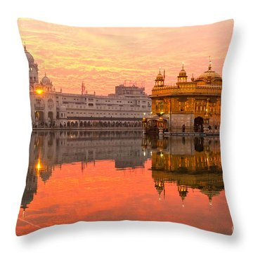 Golden Temple Throw Pillow by Luciano Mortula