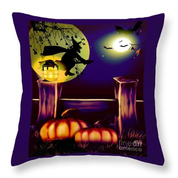 Halloween Witches Moon Bats And Pumpkins Throw Pillow