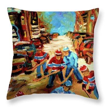 Hockey Paintings Of Montreal St Urbain Street Winterscene Throw Pillow by Carole Spandau