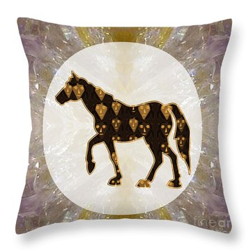 Horse Prancing Abstract Graphic Filled Cartoon Humor Faces Download Option For Personal Commercial  Throw Pillow by Navin Joshi