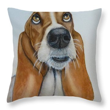 Hound Dog's Pleeease Throw Pillow by Kelly Mills