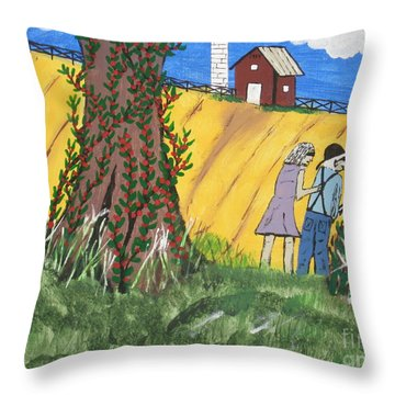 Throw Pillow featuring the painting  I Got A Big One. by Jeffrey Koss