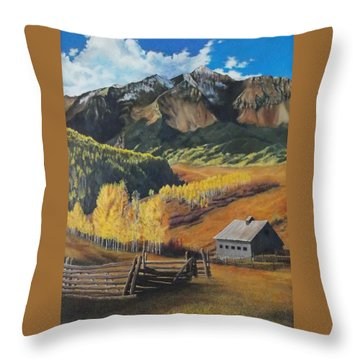 I Will Lift Up My Eyes To The Hills Autumn Nostalgia  Wilson Peak Colorado Throw Pillow