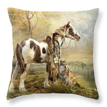 Throw Pillow featuring the digital art  Indian Autumn by Trudi Simmonds