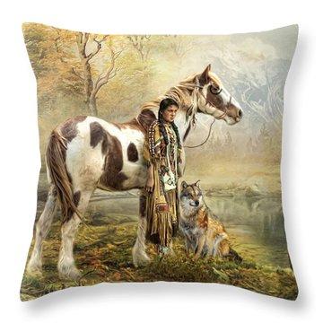Indian Autumn Throw Pillow