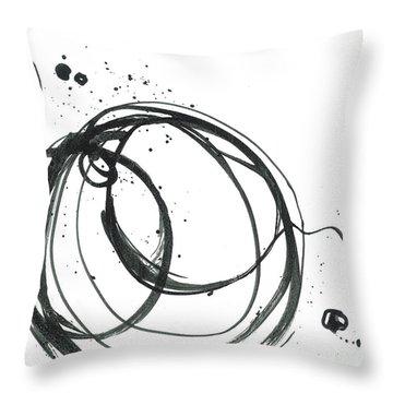 Inward - Revolving Life Collection - Modern Abstract Black Ink Artwork Throw Pillow
