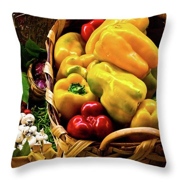 Throw Pillow featuring the photograph  Italian Peppers  by Harry Spitz