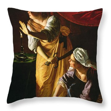 Judith And Maidservant With The Head Of Holofernes Throw Pillow by Artemisia Gentileschi