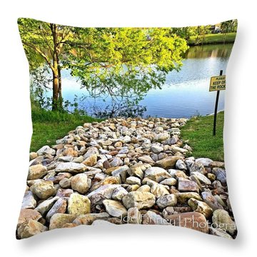 Throw Pillow featuring the photograph  Keep Off The Rocks - No.430 by Joe Finney