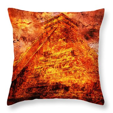 Kukulcan Pyramid Throw Pillow by J- J- Espinoza