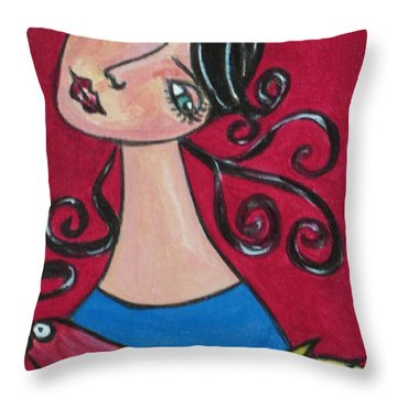 Lady And The Bird Throw Pillow
