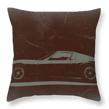 Lamborghini Miura Throw Pillow by Naxart Studio