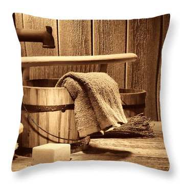 Laundry At The Ranch Throw Pillow by American West Legend By Olivier Le Queinec