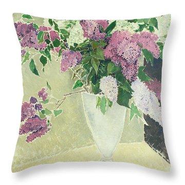 Lilacs Throw Pillow by Glyn Warren Philpot