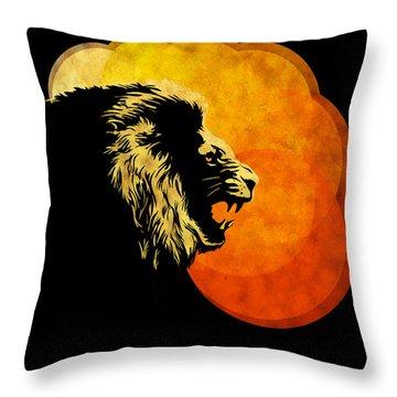Lion Illustration Print Silhouette Print Night Predator Throw Pillow by Sassan Filsoof