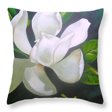 Magnolia Delight Painting Throw Pillow