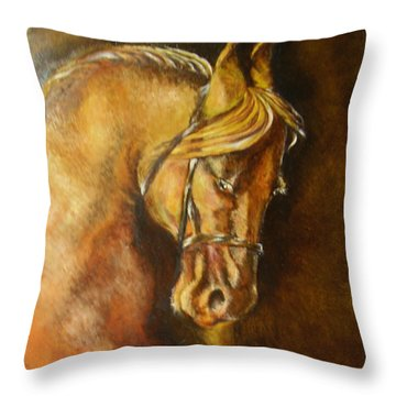 A Winning Racer Brown Horse Throw Pillow by Remy Francis