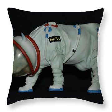 Maurice The Space Cow Boy Throw Pillow by Rob Hans